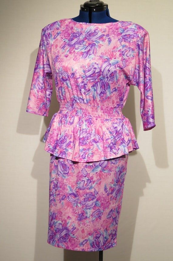 80's Vintage dress, floral print with waist ruffle