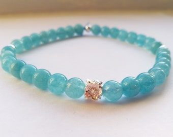 Blue Aquamarine Sterling Silver Bracelet, Beaded Bracelet