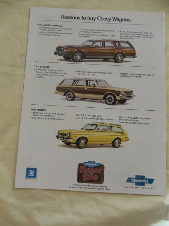 Chevrolet Wagons 1979 Original Sales Brochure Etsy