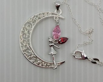 Sterling Silver/ CZ Fairy & Moon/ Charm Necklace