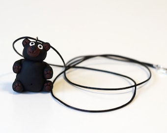 Teddy bear handmade pendant necklace gift