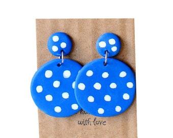 a4b3b7a39 Polka dot/ circle earrings/ earrings/ dangle drop/ blue earrings/ green  earrings/ minimalist design/ handmade/ earrings/ jewelry/ accessory