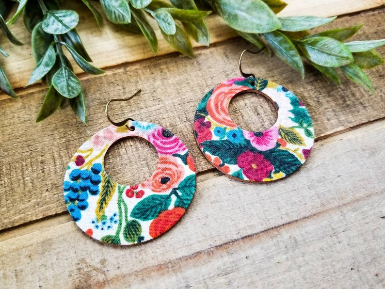 Floral Leather Earrings Rifle Paper Co Cutout Leather Earrings Boho Leather Earrings