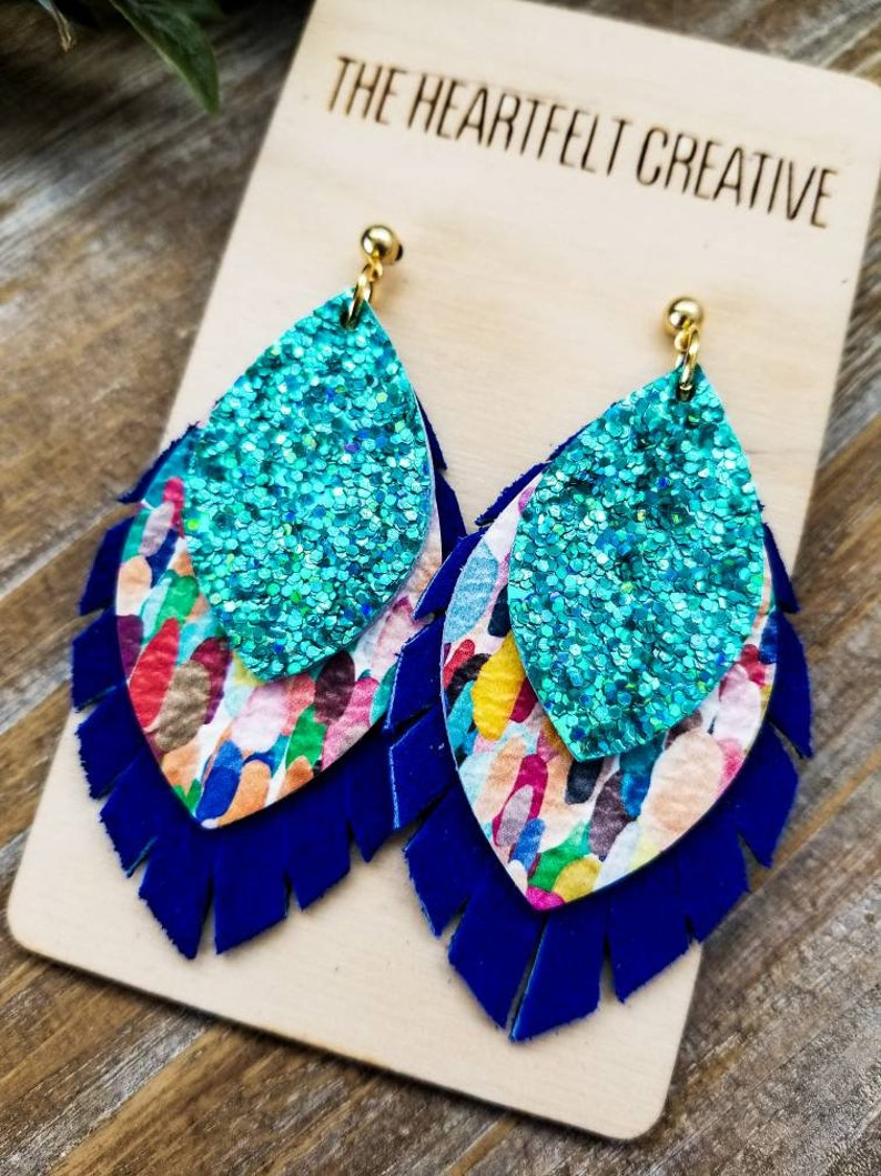 Boho Leather Earrings Confetti Layered Leather and Cork Leaf Petal Earrings Stacked Leather Earrings Modern Leather Earrings