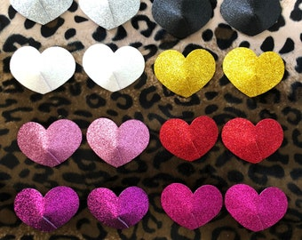 Glitter heart shaped Burlesque Pasties - Nipple covers in white, silver, black, red, pink, hot pink,purple & gold- Festival Outfit