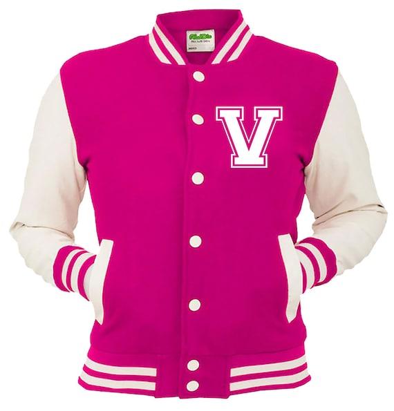 5310cfae9c7eb Personalized Pink Varsity Jacket, Base Ball Jacket, Letterman Jacket Pink &  White - Custom Letter V