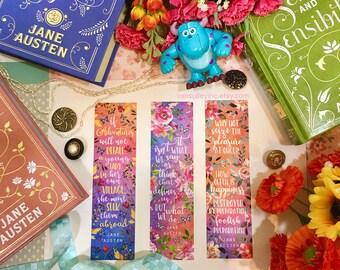 Set of 3 Bookmarks Jane Austen Quotes