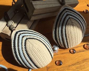 /etnico/microfibra/multiriga/beige/marrone/azzurro/coppe preformed Crochet Bikini
