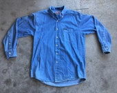 Vintage 1990s 2000s Guess Denim Button Down Oxford Dad Style Light Wash Jean Shirt Medium Faded