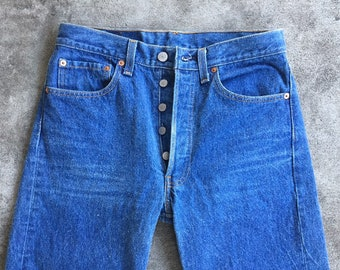 bce8ef01 Vintage 1980s 1990s Levis 501 Original Fit Boyfriend High Waisted 32x32  30x28 Light Wash