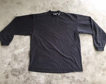 ba599569 Vintage 1980s 1990s Nike Mockneck Longsleeve T Shirt Black XL Made in USA