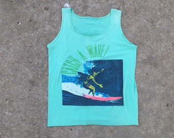 2f9c47086cd1e Vintage 1970s 1980s Distressed Faded Catch a Wave Surfing Tank Top Seafoam  Green Small Medium Summer Tee Shirt Graphic