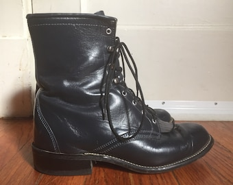 c41a6f97a96 Vintage Women s Distressed 1980s 1990s Laredo 8 1 2 M Boots Navy Blue Steel Gray  Western Cowboy Roper