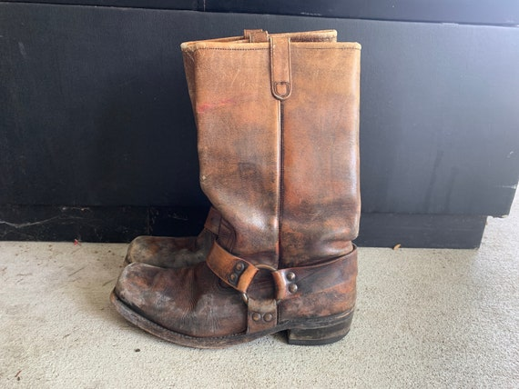 Vintage 1960s 1970s Distressed Brown Leather Engin