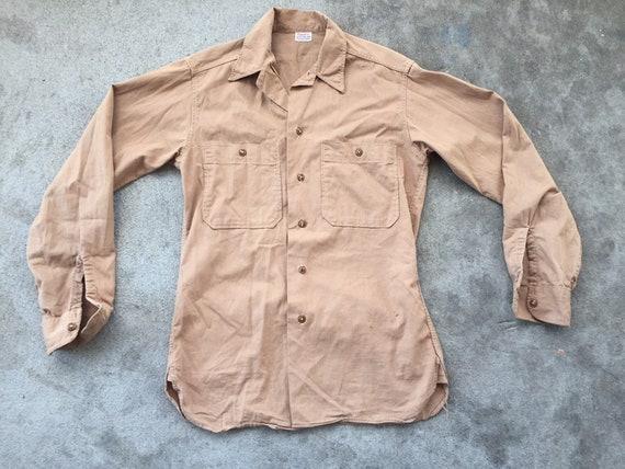 Vintage 1940s 1950s Finesilver Work Shirt Tan Cott