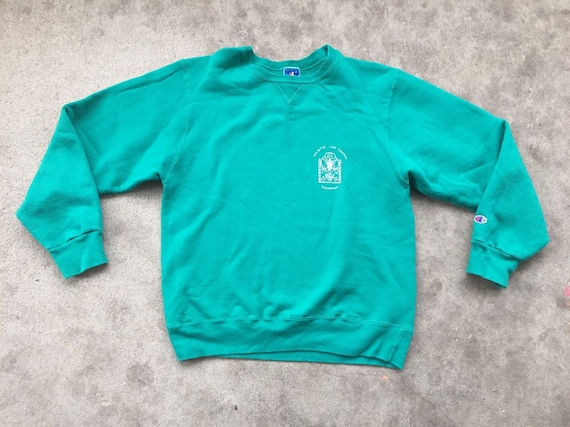 Vintage 1980s 1990s Champion Teal Crewneck Sweater