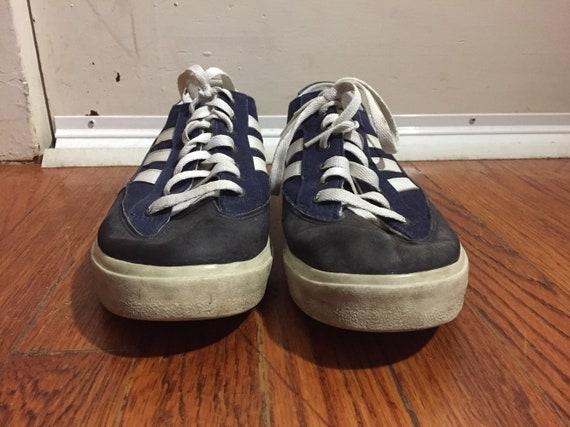 Vintage 1990s Adidas Canvas Sneakers Navy Blue Mens 9 Tennis Walking 3 Stripes