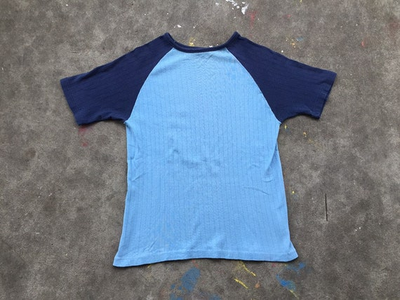 Vintage 1970s Ribbed T Shirt Baby Blue Navy Blue S