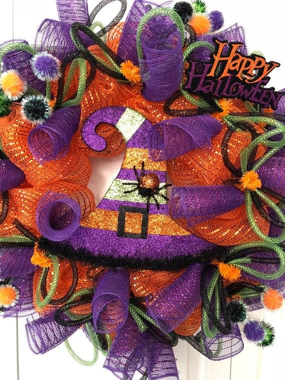 Halloween Wreath Witch Hat Wreath Halloween Decoration Etsy