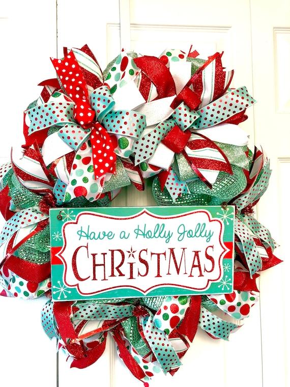 A Holly Jolly Christmas.Christmas Wreath Holiday Wreath Holly Jolly Christmas Retro Christmas Wreath Front Door Wreath Wreath For Front Door Christmas Holiday