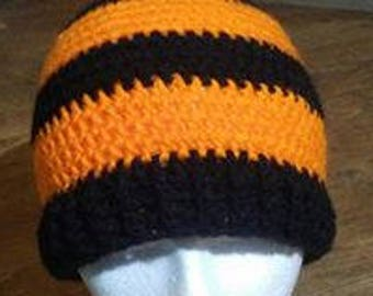 Striped Beanie with Ribbed edge