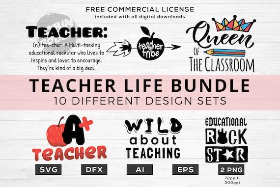 Teacher Life Bundle Svg Teacher Quotes Svg Cut File Bundle Etsy