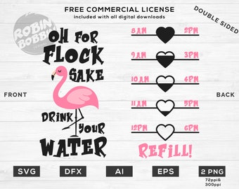 Oh For Flock Sake Drink Your Water svg, Water Tracker svg, Water Intake svg, Water Bottle svg, Water Level Tracker svg, Water Measurements