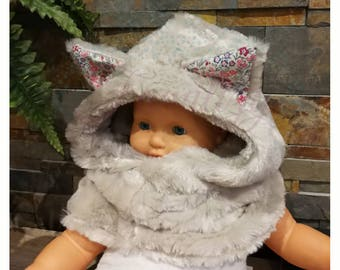Furry cat/bear hooded cowl