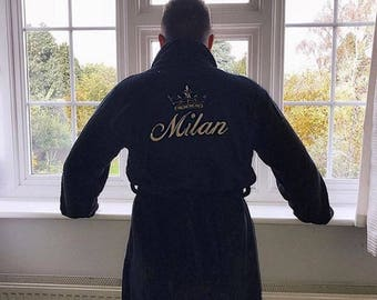 70a64521bb Mens Black Soft Touch Luxury Embroidered Personalised Dressing Gown Pesent  Gift
