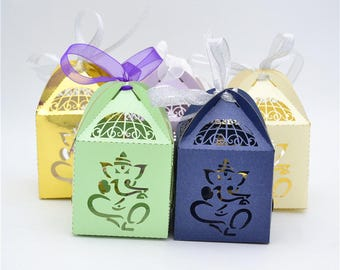 50 Pcs Ganesh Elephant Favor Box For Weddings Bridal Showers Baby And More FREE SHIPPING
