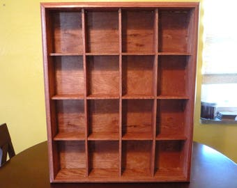 Red oak open display case for action figures, figurines and collectibles
