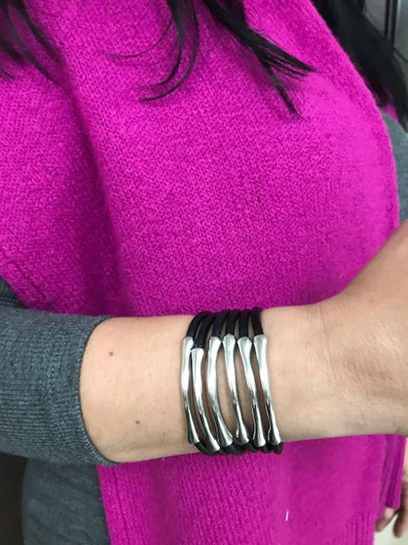 Trades by Haim Shahar leather bracelet with sterling silver plated bars bold Uno de 50 style magnetic clasp wide cuff handmade in Spain