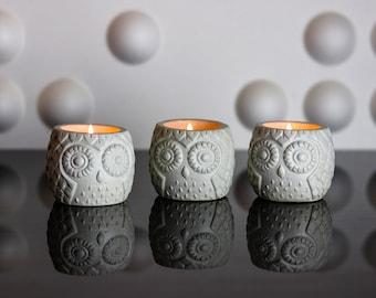 Who Who Owl Concrete Planter- Tea Light Holder - Succulent Planter - For Home or Office - Cute Planter