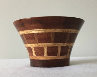 Mahogany and Red Oak Segmented Bowl