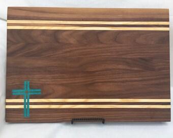 Turquoise cross Cutting Board