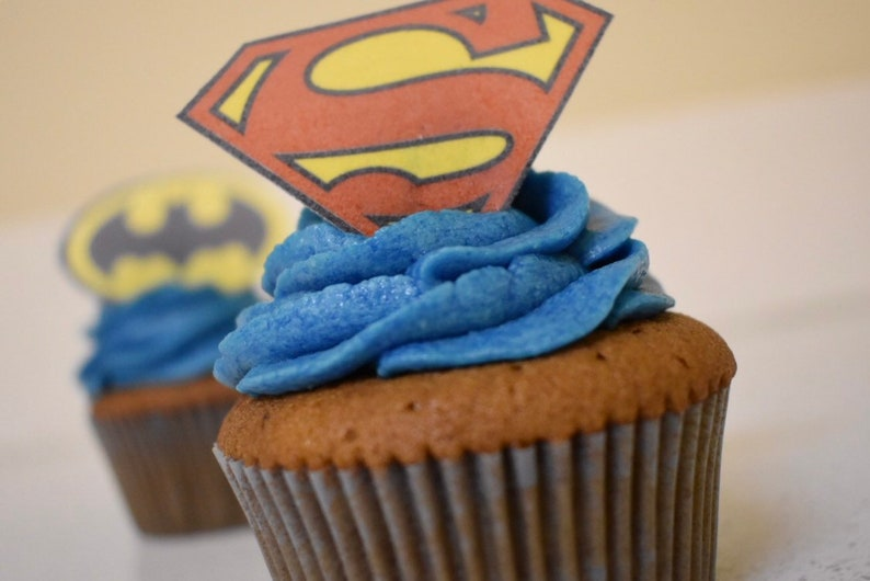 Superman Cupcake Topper X24 Cake Toppers Birthday Cupcake Etsy