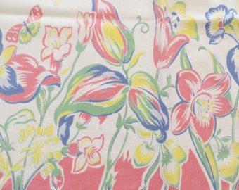 Vintage Cotton Tablecloth Pastel Flowers 1950's Cottage Shabby Chic