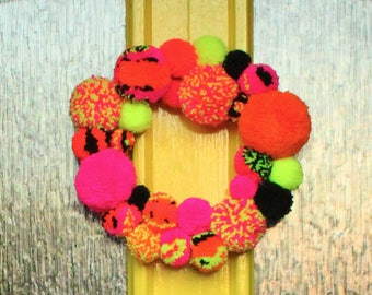 Pom Pom door wreath in Neon