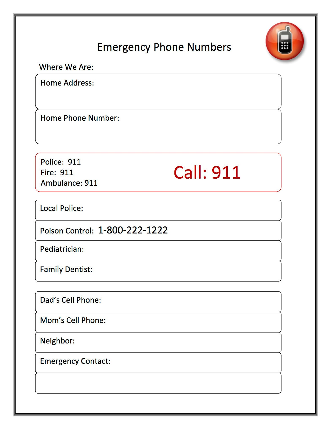Emergency Phone Number Printable For Families Babysitters Etsy
