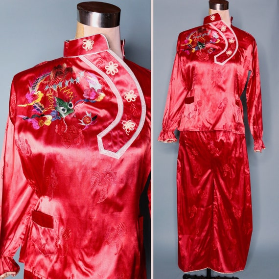 1940s / 50s | Vintage Satin WW2 Era Asian Souvenir