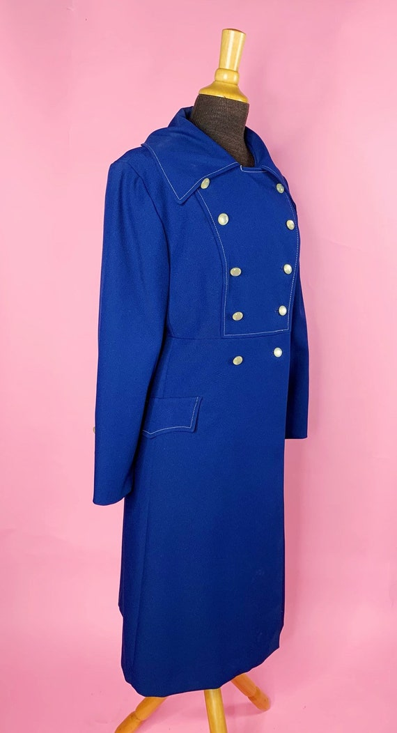 1960s | Navy Blue Mod Trench Coat | US S/M - image 2