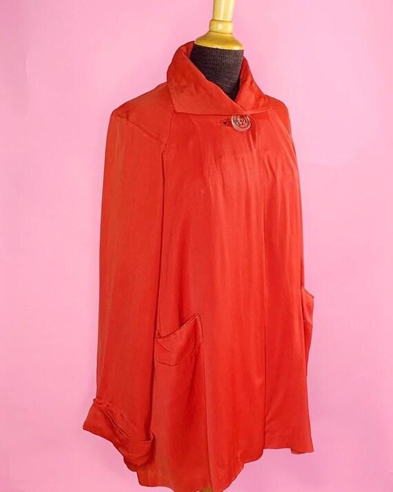1940s | Orange Red Vintage Swing Jacket | US M