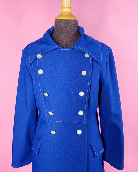 1960s | Navy Blue Mod Trench Coat | US S/M - image 7