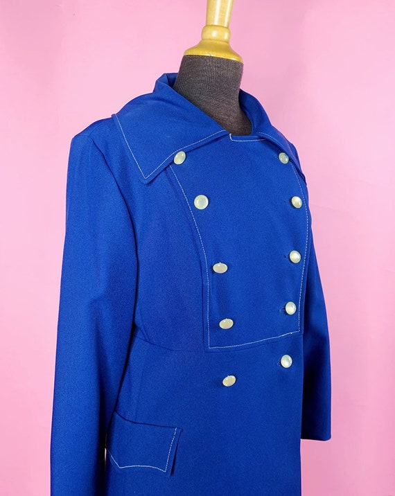 1960s | Navy Blue Mod Trench Coat | US S/M - image 6