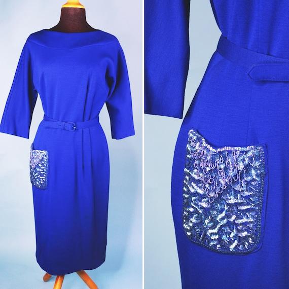 1960s | Vintage Cobalt Blue Wiggle Dress | US 8