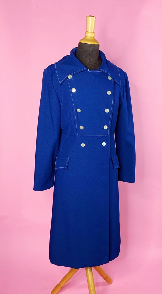 1960s | Navy Blue Mod Trench Coat | US S/M - image 3