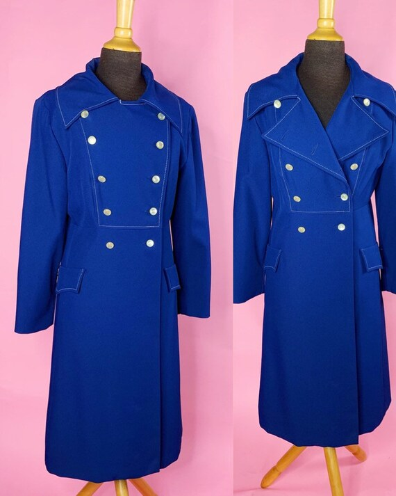 1960s | Navy Blue Mod Trench Coat | US S/M