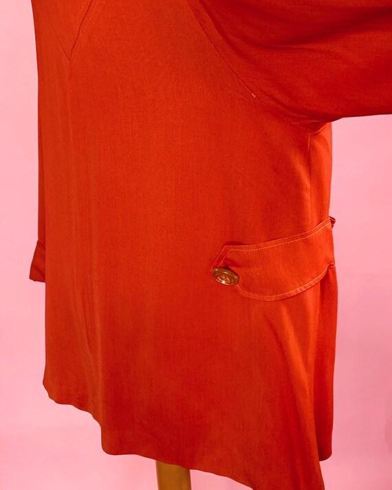 1940s   Orange Red Vintage Swing Jacket   US M - image 6