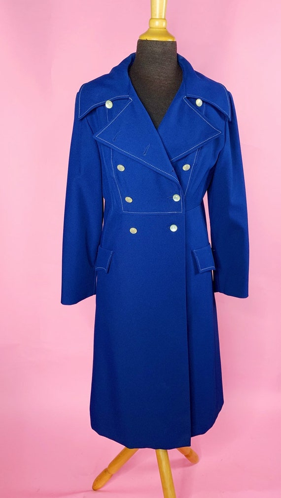 1960s | Navy Blue Mod Trench Coat | US S/M - image 5