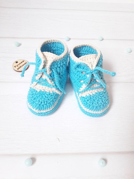 41a72a1bddc8d Baby booties, Crochet baby booties , Baby gift ,Baby boy booties, baby  shoes Crochet baby boots, Crochet baby sneakers , Blue baby booties